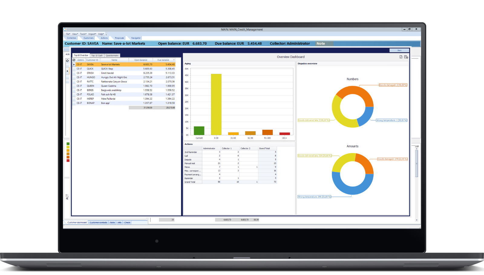 Laptop with credit management software