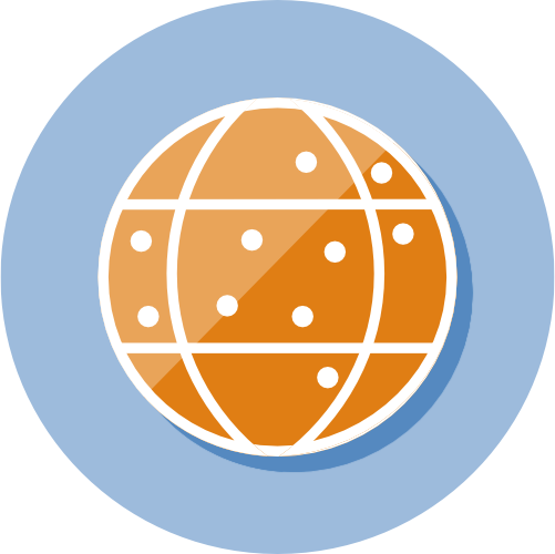 icon with an image of the world with dots of places where our software is used