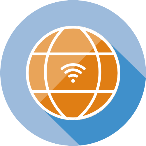 globe with wifi and internet sign
