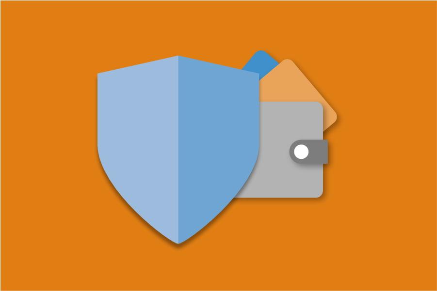 Portomonee met schild als bescherming zoals je dat ook hebt bij een kredietverzekering