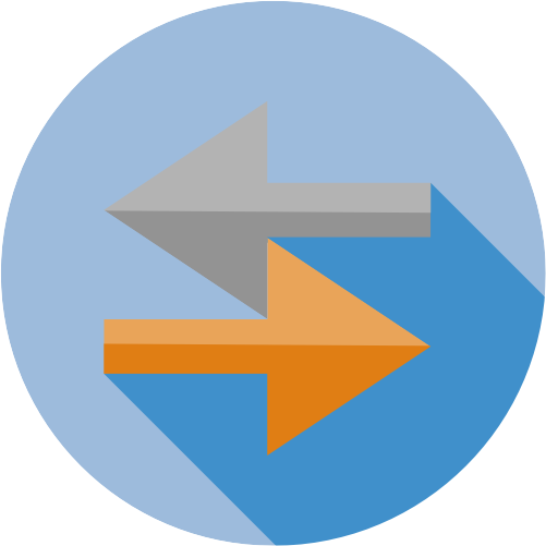 icon with arrows representing data exchange