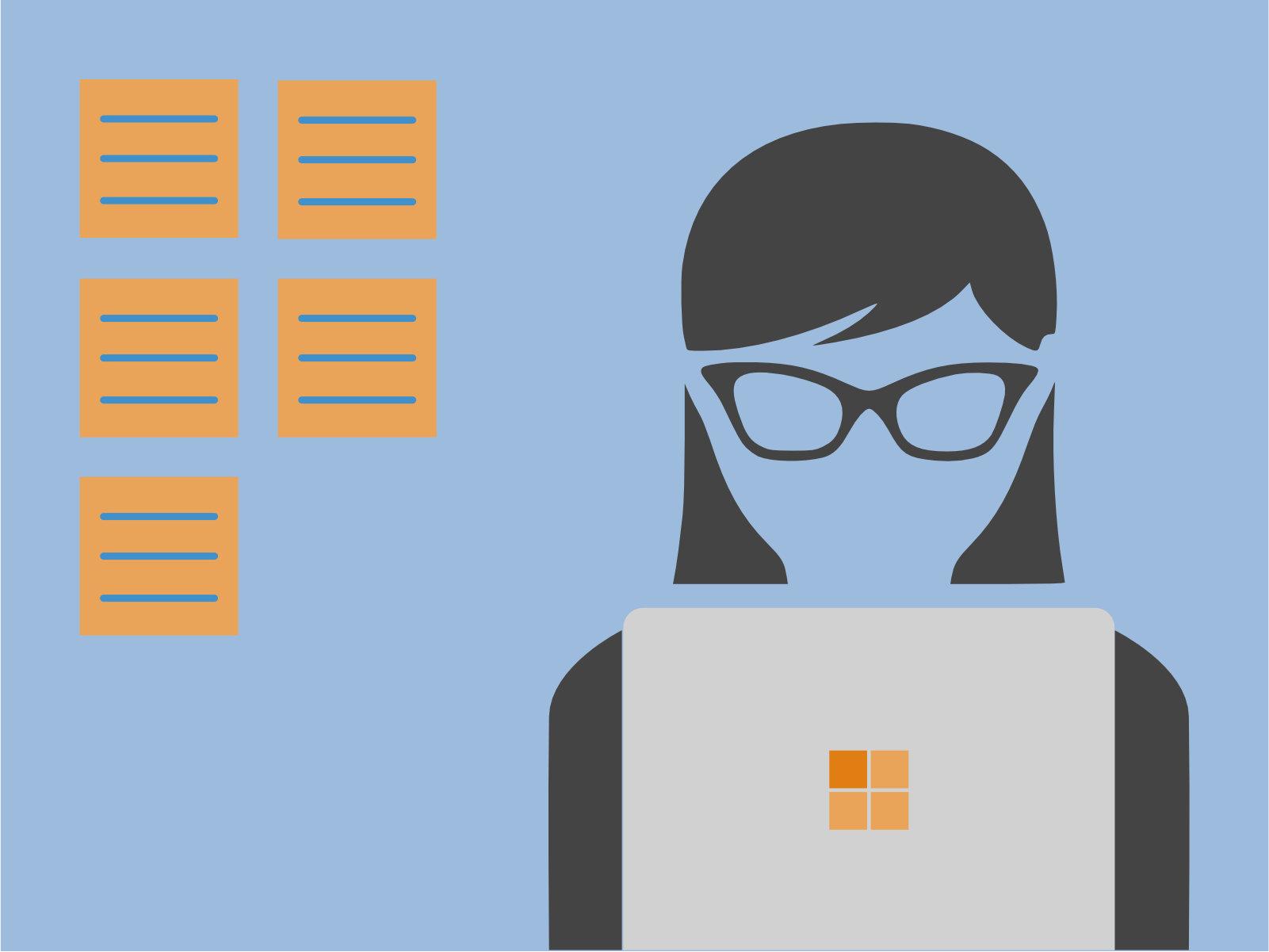 illustratie met kanban cards en persoon achter laptop
