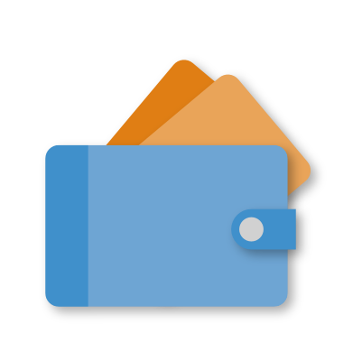 icon met een portefueille en betaalpassen