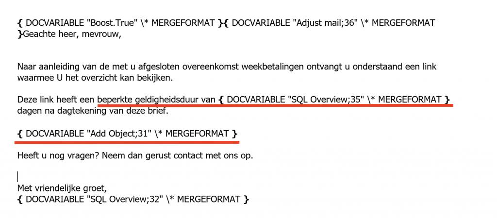 Template met document variabelen Collections Portal